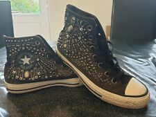 Converse All Star High Top Trainers Size 5 UK Black Skull Safety Pin Punk rare