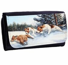 Fox Hunt Bi-fold Zipper Bill & Card Holder Long Wallet