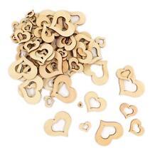 100 Stück Holz Herzen mit Loch Dekoherzen Größen Mix Tischdekoration Holzdeko