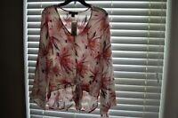 Karen Kane Womens Shirt Top Blouse Tinsel Top Pink Tie Bell Sleeve Size Small
