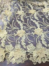 """WHITE MESH W/GOLD 3D EMBROIDERY RHINESTONE LACE FABRIC 52"""" WIDE 1 YARD"""