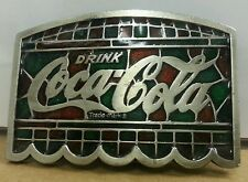 REAL Color Vintage 1977 Coca Cola Brass Belt Buckle- Coke Tiffany Lamp Shade
