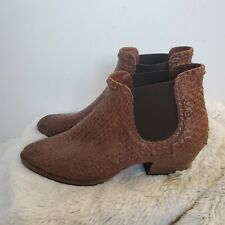 Aquatalia Brown Woven Leather Desire Ankle Boots Booties 10