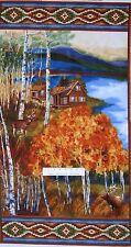 "24"" Fabric Panel - Timeless Treasures - Cabin Hunting Deer Wallhanging Scene"