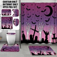 US Halloween Shower Curtain Bathroom Anti-Slip Carpet Rug Lid Toilet Cover KIT