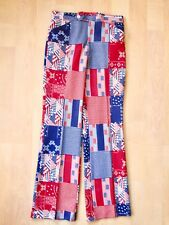 Wild Vtg 70s red white blue bandana patchwork poly knit disco pimp pants 31