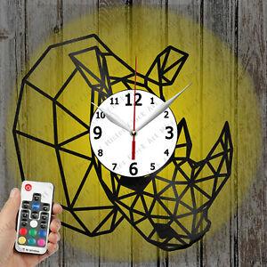 LED Clock Rhinoceros Record Clock Art Decor Original Gift 6656