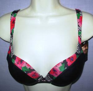 nwt sz 34B SOFIA VERGARA Push-Up Bra underwire #930119 Black w floral print 34 B