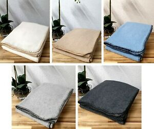 Luxury Plain Lambswool Throw Blanket Various Colours Ideal Gift