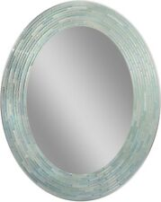 Deco Bathroom Wall Hanging Mirror 29 x 23 Reeded Sea Glass Mosaic Tile Oval New