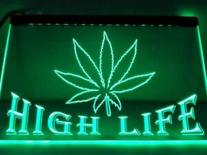 Hemp Leaf High Life Bar LED Neon Sign Home decor Schop Funny