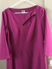 New Women's Long Dress Purple Anne Klein Size 14/XL/L Sheath Long Sleeve $119 *