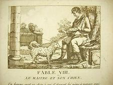 Glanures d'Esope Jean Jacques Porchat Fable VIII Le maitre et son chien c 1830