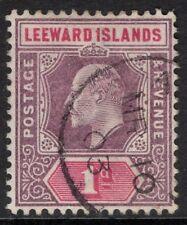 LEEWARD ISLANDS SG21 1902 1d DULL PURPLE & CARMINE FINE USED