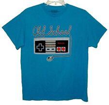 """Sz L T-Shirt """"OLD SCHOOL NINTENDO"""" Turquoise 100% Cotton"""