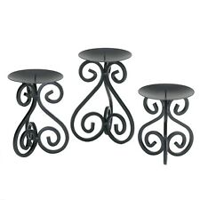 New ListingScrollwork Candle Stand Trio - Three Piece Black Candle Tabletop Holders
