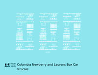 K4 N Decals Columbia Newberry and Laurens 40 Ft Boxcar White