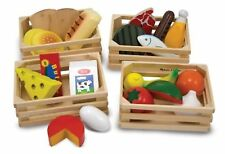 Melissa & Doug Food Groups - 21 Hand-Painted Wooden Toy Food Pieces & 4 Crates