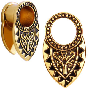 Pair of Gold & Black Tribal Ear Tunnels  - Aztec Plugs  - Copper Gauges Earrings