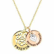 Mother & Child Crystal Disc Pendant in 18K Three-Tone Gold-Plated Brass