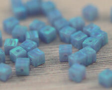 LOT 3X3MM Small Cube Square Loose Blue Opal Beads Big Hole Gemstone Spacer 20pcs