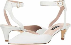 $90 Nine West QUINTEENA ANKLE STRAP PUMPS White LEATHER Size 6M 2'' kitten heel
