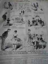 Litho Caricature 1867 Pèle Mèle de dessins ma petit Volter Fusil Chassepot