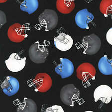 "Sports ~ Tossed Footballs and Helmets 100% Cotton Fabric  BTY 44"" wide"