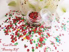 UNGHIE Grosso Natale * Dancing Elf * Red Star DOT CERCHIO Glitter Spangle MIX Pot
