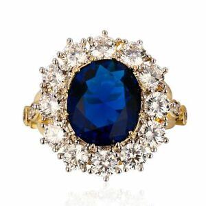 925 Silver Weeding Queen Flower Gorgeous Ring Sapphire Gemstone Fashion Design