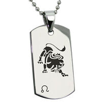 "Stainless Steel Astrology Zodiac Horoscope Sign Animal Mens Dog Tag Pendant 24"""