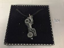Willys Jeep ref309 Pewter Effect Car Motif on Black Cord Necklace Handmade 41CM