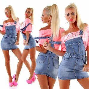 34050 Fashion Damen Jeans Rock Latzrock Jeansrock Minirock Träger Streetwear