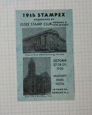 Stampex Essex Stamp Club 1950 Newark Nj Philatelic Event Label Souvenir Ad