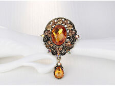 SPILLA DORATA  STRASS PIETRE LUCE ORO-VINTAGE VICTORIAN WEDDING PARTY PIN BROACH