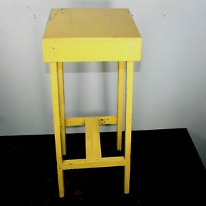 Vintage stool artist potter yellow paint primitive nailed jointed construction