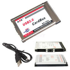 New PCMCIA to USB 2.0 HUB CardBus Dual Card 480M Adapter