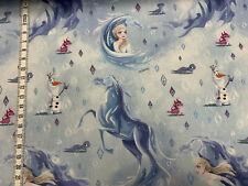 Baumwollstoff - Frozen - Elsa/Olaf/Pferd - BLAU - Eiskönigin
