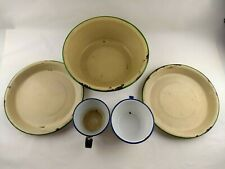 Vintage Enamelware Old Rusty Bowl Plates Cups Set Rustic Shabby Decor