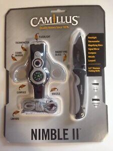 Camillus Nimble II 6.5 Titanium Folding Knife and Survival Tool Whistle Compass