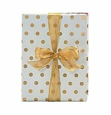 "Gold Foil Polka Dot Wrapping Paper - 30"" x 240"" Lg Roll - 50 SQ FT"