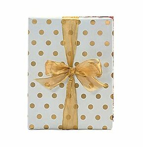 """Gold Foil Polka Dot Wrapping Paper - 30"""" x 240"""" Lg Roll - 50 SQ FT"""