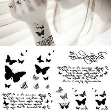 Black Butterfly & Letter Transfer Waterproof Temporary Tattoo Body Art Sticker T
