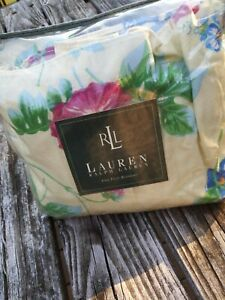 RALPH LAUREN Sandy Lane Floral Yellow Hawaii Tropical Bed Skirt NIP