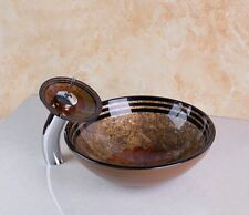 Bathroom Unit Tempered Glass Basin Vessel Sink Bowl With Mixer Tap Faucet Taps