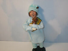 Byers Choice 1985 Pajama Boy in Blue Striped Nightshirt and Blue Cap with Toy