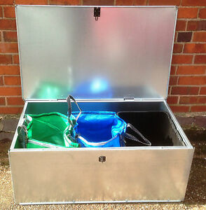Galvanised Recycling Bag Storage Container,paper,rubbish glass outdoor indoor.