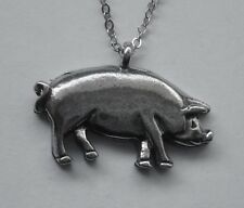 Chain Necklace #1106 Pewter PIG PIGGY (27mm x 19mm)
