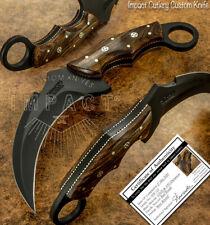 IMPACT CUTLERY RARE CUSTOM D2 FULL TANG POWDER COATED KARAMBIT KNIFE BURL WOOD