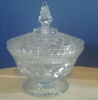 "Vintage Pressed Glass Pedestal Candy/Trinket Dish With Lid 7 1/2 "" high"